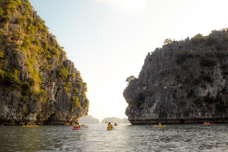 The Wandering Suitcase - Kayaking at Halong bay