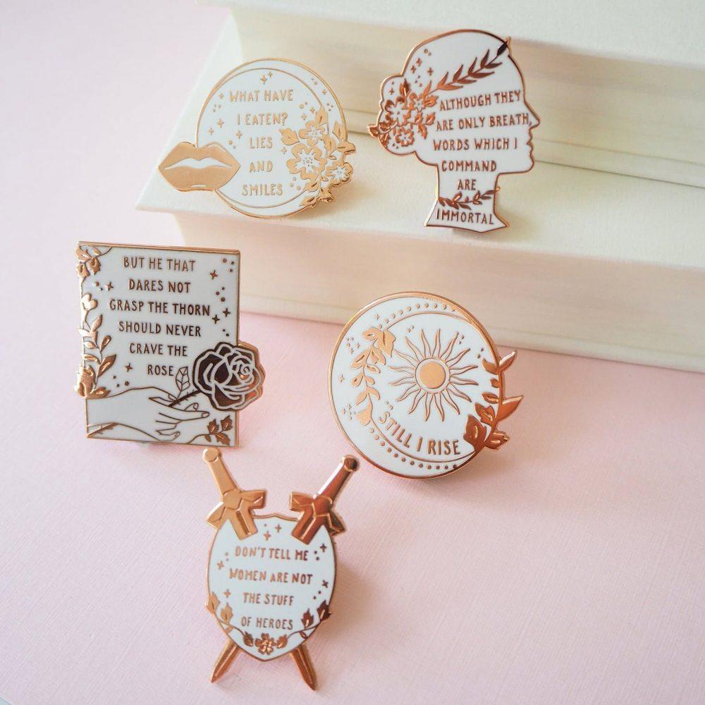 women poets enamel pins
