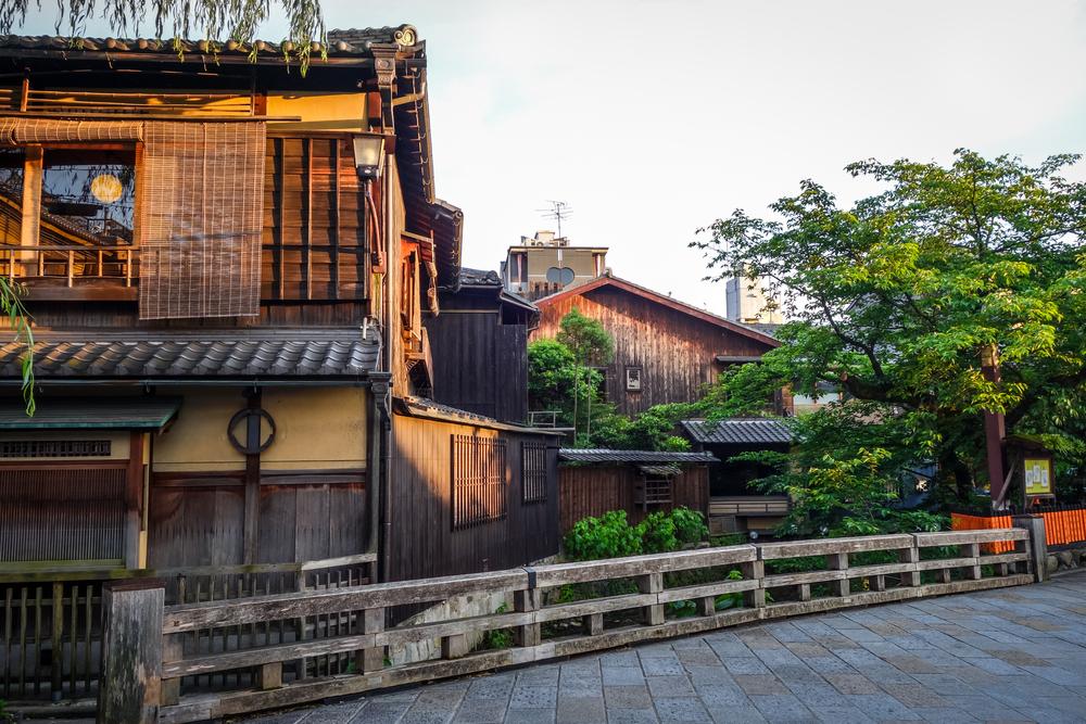 Traditional japanese houses on Shirakawa river, Gion district, Kyoto, Japan
