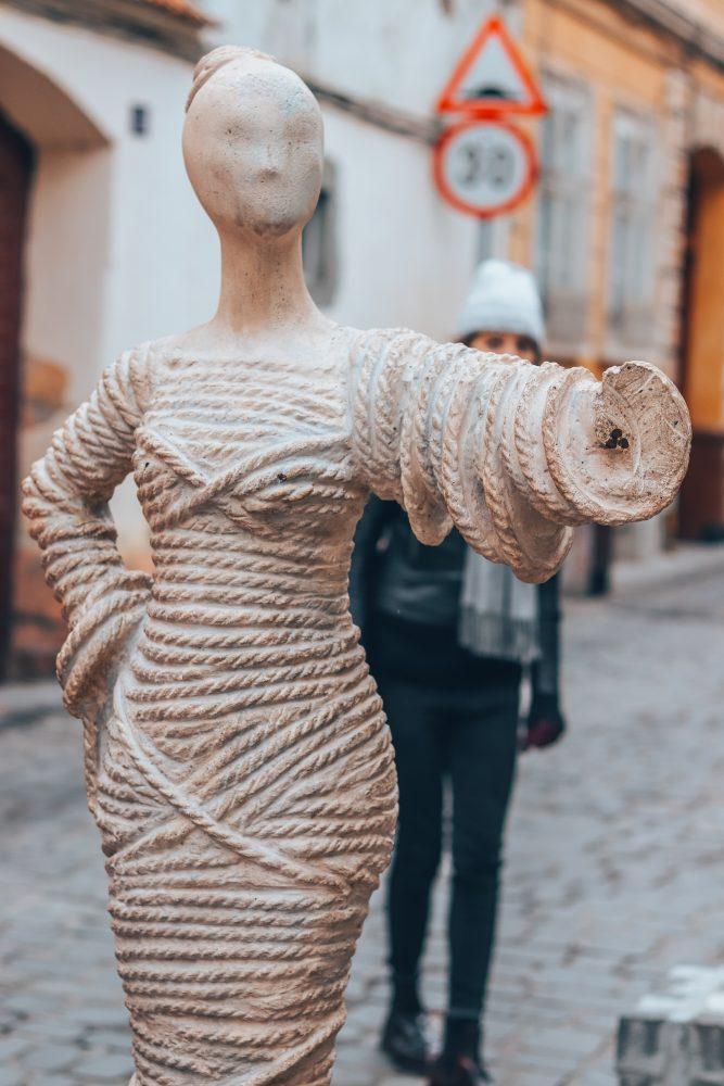 rope street statue brasov romania