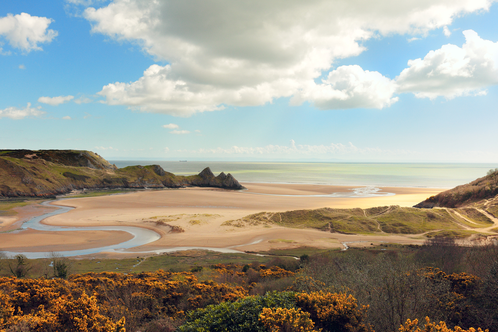 three cliffs bay gower swansea wales