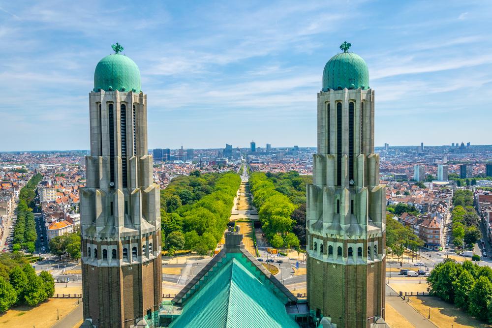 Aerial view of Brussels with two towers of Koekelberg basilica, Belgium