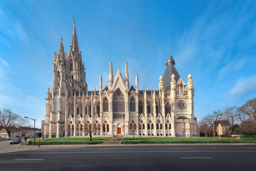 Brussels, Belgium. View of neo-Gothic Church of Our Lady of Laeken