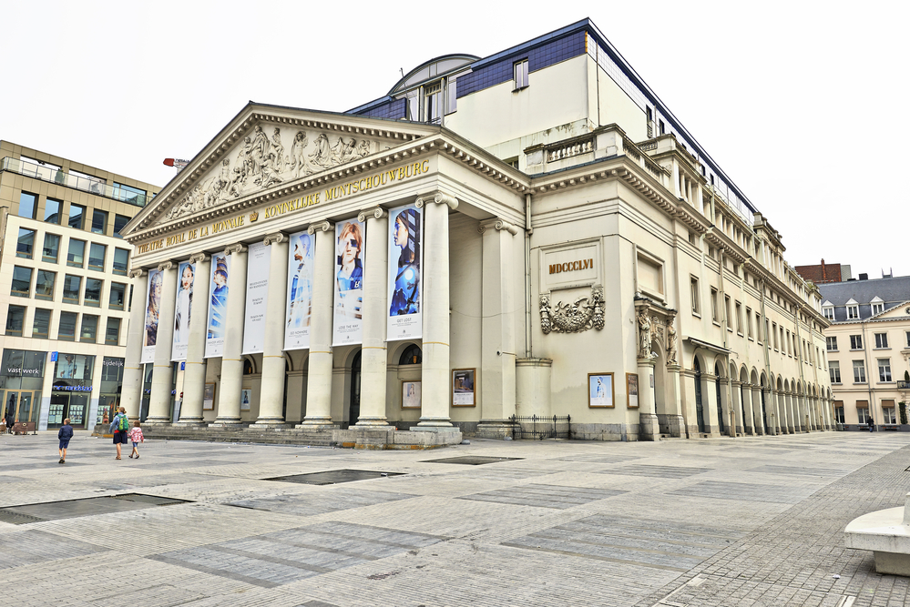 he square of the Royal Theatre la Monnaie in Brussels.