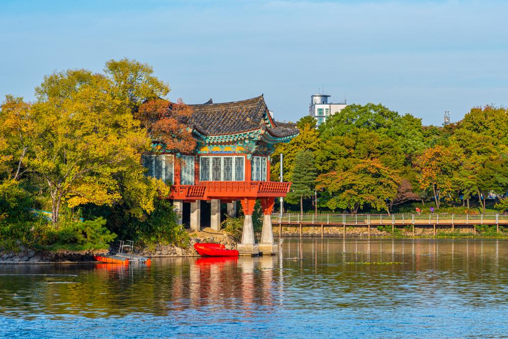 Pavilion at Duryu park in Daegu,