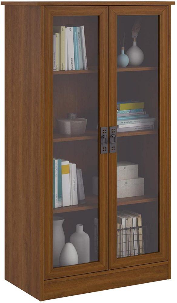 bookshelf with glass door